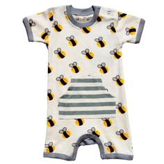 Organic Cotton Short Sleeve Romper - Bumble Bee