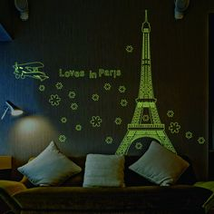 ElecMotive Loves in Paris Eiffel Tower Fluorescent Luminous Stickers Glow in the Dark Wall Decals for Wedding Decorative Home Decor Restaurant Bedroom Sitting Room Tile Window Sticker Sofa Tv Background DIY Art Decals City Wall Stickers, Wall Stickers Glow In The Dark, Wall Stickers Home Decor, Wall Stickers Murals, Window Stickers, Home Decor Wall Art, Wall Decals, Sticker Mural, 3d Wall