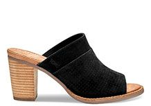 NEW Black Suede Perforated Women's Majorca Mule Sandals