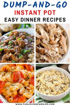Dump dinners for the Instant Pot: Lots of easy dinner recipes. Dump and push start, then spend time with the family while dinner cooks itself. #dumprecipes #instantpot #dinner Instant Recipes, Instant Pot Dinner Recipes, Easy Dinner Recipes, Best Instant Pot Recipe, Crockpot Dump Recipes, Cooking Recipes, Instant Pot Pressure Cooker, Pressure Cooker Recipes, Pots
