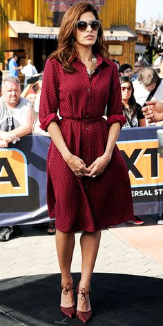 Shirt dress. Eva Mendes, dress by Eva Mendes for New York & Company, Bionda Castana shoes.