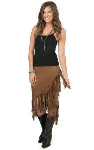 Rock 47 by Wrangler Women's Brown Faux Suede Fringe Skirt | Cavender's