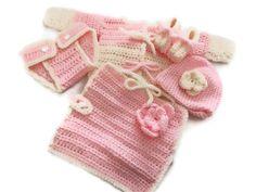 Crochet Newborn Sweater Hat Booties by MrsSchafferCreations, $50.00