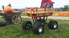 Swing-Arm Suspension wagon by Baja Wagon Kids Wagon, Toy Wagon, John Deere Lawn Mower, Radio Flyer Wagons, Tractor Attachments, Drift Trike, Pedal Cars, Cool Bicycles, Childhood Toys