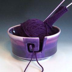 Large Yarn Bowl OOAK Purple Yarn Bowl by AllisonGlickCeramics