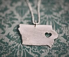 """Gotta love this """"i heart Iowa"""" necklace offered by tru.che - $55.00, via Etsy."""
