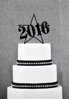 New to ChicagoFactory on Etsy: New Years Cake Topper 2016 New Years Cake Topper Custom New Years Topper Modern Cake Topper- (S265) (15.00 USD)