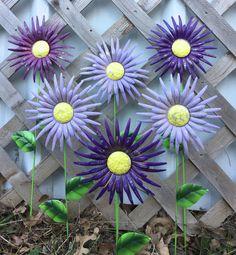 Purple Asters Garden Stakes - Metal Flowers - 6 Pc Metal Yard Art - Shades of Purple Asters - Outdoor Garden - Window Box - Housewarming
