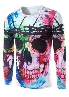 Multicolor Skull Printed T-Shirt