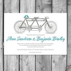Tandem Bicycle Lovebirds Wedding Invitation Set. $2.50, via Etsy.