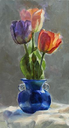 """""""Cobalt and Tulips"""" oil painting by Karen Whitworth. It's the perfect colorful flower bouquet that will never fade or wilt. :) It's available in prints, cards, tote bags, duvet covers and more. How would you use this art in your life? See it here: http://fineartamerica.com/featured/cobalt-and-tulips-still-life-painting-karen-whitworth.html"""