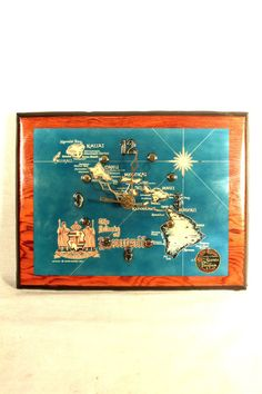 Hawaiian Wall Clock Souvenir Map Hawaii Islands Wood Wooden