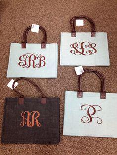 More big girl monograms on Jute Bags by Doodlz Designz.