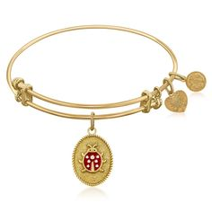 Expandable Bangle in Yellow Tone Brass with Ladybug Love Luck Symbol