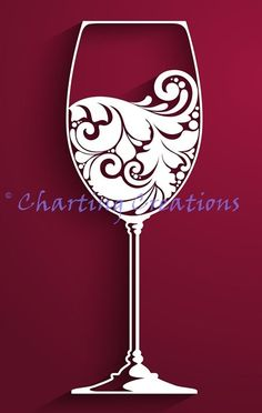 Wine Glass Silhouette Would be cute to use gold paint for champagne, add bubbles.