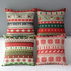 WOMHOPE 4 Pcs  17 Merry Christmas Cotton Linen Throw Pillow Case Square Cushion Cover Home Sofa Couch Decorative A >>> See this great product.