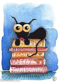 ACEO Original Watercolor Folk Art Whimsical Stressie Cat Happy Thanksgiving | eBay