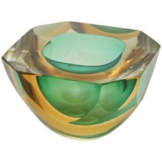 Italian Murano Sommerso Flat Cut Polished Geode Bowl | From a unique collection of antique and modern glass at https://www.1stdibs.com/furniture/dining-entertaining/glass/