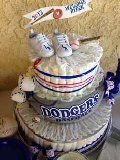 Baseball theme diaper cake for baby shower. #dodgers #diapercake #babyshower