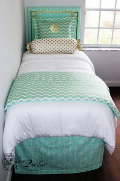 Mint and gold dorm room bedding and décor. Designer headboard, custom pillows, exclusive bed scarf, window panels, wall art, bed skirts, twin XL duvet and custom monogramming!! Turn your dorm from drab to fab!!