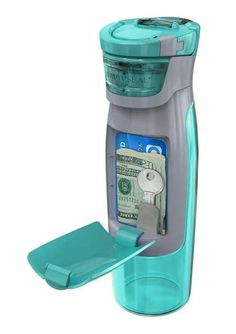 Contigo AUTOSEAL Kangaroo Water Bottle with Storage Compartment - 24 oz. - Turquoise by Contigo Inventions Sympas, Ideas Para Inventos, Diy Graduation Gifts, Clever Inventions, Crazy Inventions, Take My Money, Dorm Life, Cool Things To Buy, Cool Stuff To Buy