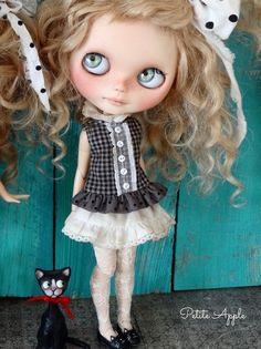 "Blythe doll outfit - set of skirt and top ""A stroll in the park"" by marina, $56.00 USD"