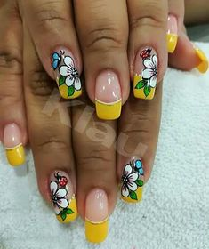 French Manicure Nails, French Nails, Gel Nails, Gel Nail Designs, Birthday Nails, Nail Decorations, Fabulous Nails, Flower Nails, Eyebrow Makeup