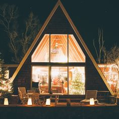 illuminated A-frame at night