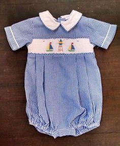 Vtg House of Hatten Baby Boy Jon Romper 6M Blue Gingham Plaid Smocked Sailboats  #HouseofHatten #HolidayEaster