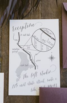 Hand drawn wedding map with calligraphy accents and copper edge painting – by Twelve30 Creative