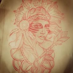 Looking forward to doing this american indian lady today.. #tattoo #lady #Indian