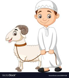 Cartoon muslim boy with a goat Royalty Free Vector Image , Goat Cartoon, Sheep Cartoon, Cartoon Boy, Cartoon Images, Happy Birthday Mom Images, Preschool Classroom Decor, Eid Stickers, Goat Art, Disney Cars Party