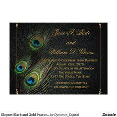Elegant Black and Gold Peacock Wedding 5.5x7.5 Paper Invitation Card