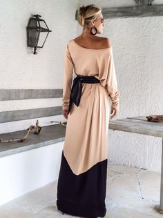 Nude Taupe & Black Maxi Dress / Nude Taupe Black Kaftan / Plus Size Dress / Oversize Loose Dress / #35135