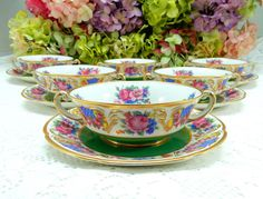 6 Black Knight Porcelain Cream Soup Cups & Saucers Green Bands Flowers Gold #BlackKnight