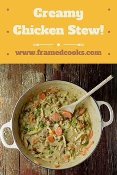 Creamy chicken stew is full of carrots, celery, potatoes...and bacon! The ultimate comfort food, all in one pot.