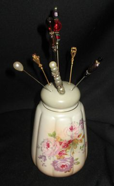 RS German Vintage Porcelain Hat Pin Holder Handpainted With Delicate Cabbage Roses