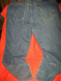 W42  L32, 100% Cotton ,  Blue , Regular Fit ,  Men Jeans  #NoLabel #ClassicStraightLeg