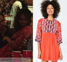 "13 Reasons Why: Season 1 Episode 9 Jessica's Red Printed Dress | Shop Your TV Jessica Davis (Alisha Boe) wears this red printed long sleeved mini dress in this episode of 13 Reasons Why, ""Tape 5, Side A"". It is the Ecote Tyler Split-Neck Bell-Sleeve Mini Dress"