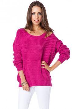 Shoulder Slash Sweater in Fuchsia