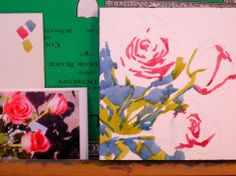 Roses step 1 and 3, painting by artist Jo MacKenzie