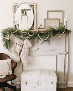 Vintage White and Green Christmas Mantel via Farmhouse winter home decor