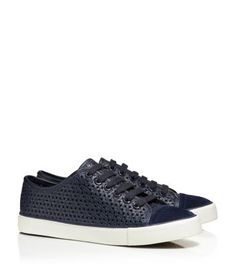 FLORAL PERFORATED SNEAKER - TORY NAVY