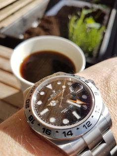 Sunday morning coffee  Rolex and coffee  Watch and coffee The explorer ll  is both a dress watch and tool watch. Maybe I'm a little more into the model before this one the 16550/16570 it has the right size.  But I still think the 42mm on this one are ok. But can't think what it would have looked like in a normal (old) case. Then we could have had a real tribute to the 1655. #rolex #explorerll #copenhagen #rolex1655 #rolex16570 #coffee  #subgmt #wrist #sunday #toolwatch #enjoylife