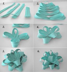 """DIY Christmas Gift Ribbon -- I obsess over this crap every year. I'm the only one who makes """"pretty"""" present wrappings and bows. Diy Bow, Diy Ribbon, Ribbon Crafts, Ribbon Bows, Ribbons, Christmas Gift Ribbon, Diy Christmas Gifts, Holiday Gifts, Diy Cadeau Noel"""