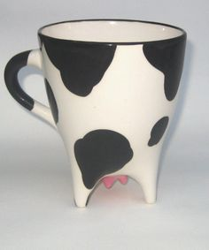 Holstein Cow Mug In Stock by SpademanPottery on Etsy