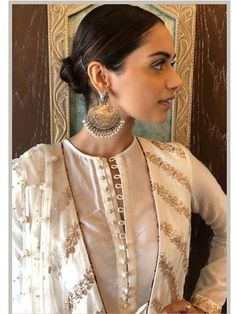 """Zaib"" a collection inspired by the understated and refined craftsmanship of the Sub Continent. From the intricate Mughal inspired… Neck Designs For Suits, Dress Neck Designs, Blouse Designs, Neckline Designs, Pakistani Outfits, Indian Outfits, Ethnic Outfits, Indian Attire, Indian Wear"