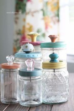 Mason Jar Crafts You Can Make In Under an Hour - Upcycled Mason Jar With Pretty Glass Knob Tops- Quick Mason Jar DIY Projects that Make Cool Home Decor and Awesome DIY Gifts - Best Creative Ideas for Mason Jars with Step By Step Tutorials and Instructions Mason Jar Projects, Mason Jar Crafts, Bottle Crafts, Crafts With Jars, Candy Mason Jars, Ideas With Mason Jars, Ideas For Jars, Crafts To Make And Sell Ideas, Jelly Jar Crafts