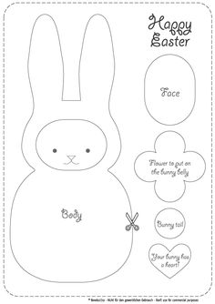 easter bunny pattern. use this to make a little felt or stuffed bunny.