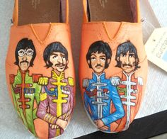 The Beatles Shoes. $100.00, via Etsy.  Aren't these amazing?????? by Sevin Soles